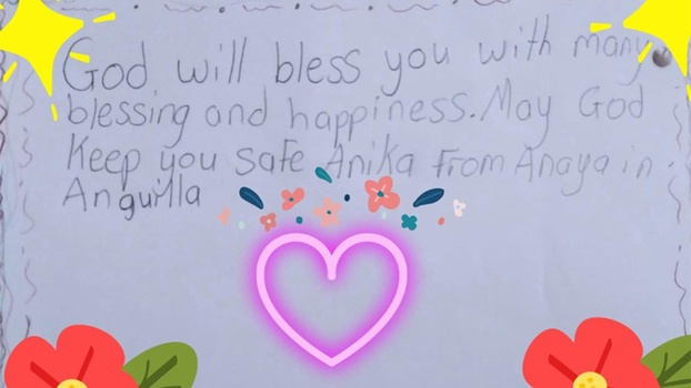 A cheerful card made by Anaya from Anguilla for a child in St. Vincent. [Photo: North Caribbean Conference]