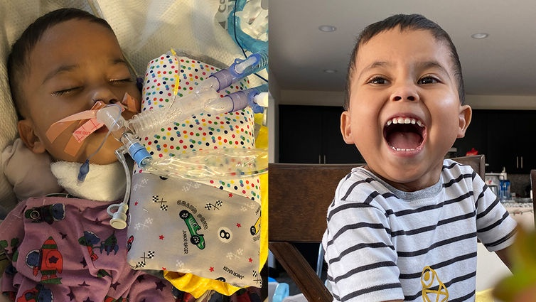3-year-old Jethro takes his first unassisted breath