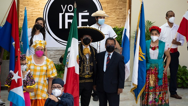 Pastor Melchor Ferreyra (second from right) stands next to leaders dressed in folkloric attire minutes before Inter-America's Day of the Laity began it's program online to celebrate thousands of Adventist lay members across the territory who faithfully and tirelessly share the good news of the gospel throughout their communities every year. The annual day of celebration was hosted from the La Mesa Adventist Church in Tijuana, Baja California, Mexico, on Sep. 4, 2021. [Photo: Daniel Guerra]