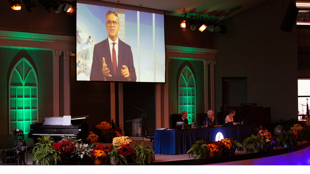 Erton Carlos Köhler, Executive Secretary, General Conference (GC), gives his Secretary's Report at the 2021 Annual Council in Silver Spring, Maryland, United States of America. [Photo Credit: Brent Hardinge/Adventist Media Exchange]