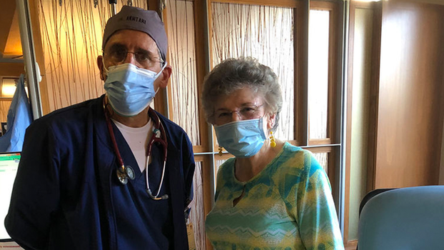 Dr. Akhtari (left) and Pat Giard (right) work together to keep Pat's chronic blood cancer under control, allowing her to live the life she wants. [Photo Courtesy of Loma Linda University Health]