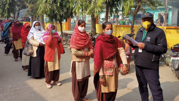 ADRA collaborated with local health departments to assist with health check-ins and monitor crowd control. [Photo Credit: ADRA in India]
