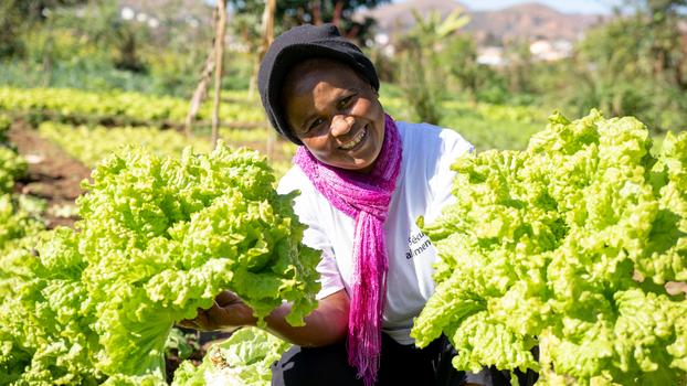 ADRA created a nutrition manual to teach women in Madagascar how to cook tasty and nutritious dishes with their garden produce. [Photo Credit: Livatina Ranarison]
