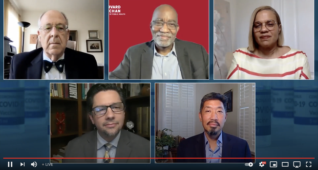 NAD COVID-19 vaccine symposium Q&A panelists (left to right, top to bottom) include Peter N. Landless, David Williams, India Medley, Costin Jordache, and Vincent Hsu—doctors, public health specialists, and communication experts. [Photo: broadcast screenshot]