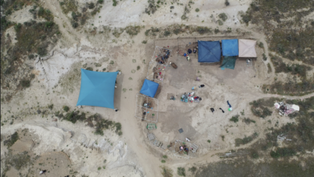 Aerial view of the dinosaur dig near Newcastle, Wyoming, held this past school year for North Pacific Union students. [Photo provided by the North Pacific Union Gleaner.]