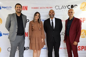 L-R: Jonathan López, Producer of Spin, Coralis Mena, main character, Pastor David Sebastian, Communications Director for the church in Puerto Rico, and José Oscar Sánchez, writer and director of Spin, pose for a photo during one of the launches of the film, in Puerto Rico, Aug. 2021. [Photo: Puerto Rican Union]