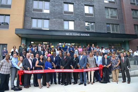 On July 21, 2021, Adventist Church officers, leaders, local government officials, and other guests attend the Northeastern Towers Annex, a 158-unit affordable housing complex ribbon cutting ceremony in Jamaica, Queens, New York. [Photo by JeNean Johnson]