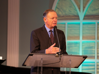 Mark Finley, assistant to the president of the General Conference of the Seventh-day Adventist Church, makes a presentation at the 2021 Annual Council meetings on the connection between Adventist identity and the Word of God. [Photo: [Photo: Brent Hardinge / Adventist Media Exchange (CC BY 4.0)]