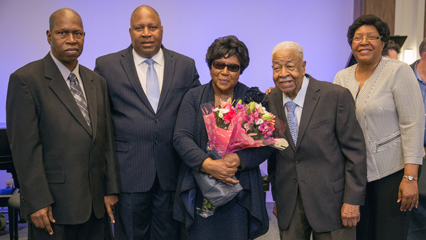 At the 2017 North American Division Year-End Meeting, Charles and Ethel Bradford pose for a photo with their family during a special moment recognizing Bradford's years of dedicated service to the church. [Photo by Pieter Damsteegt]