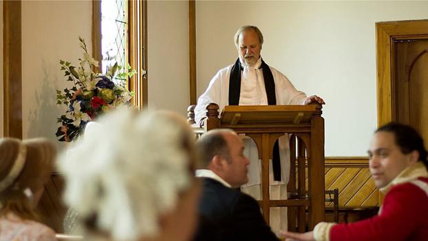 An actor playing Reverend Samuel Marsden