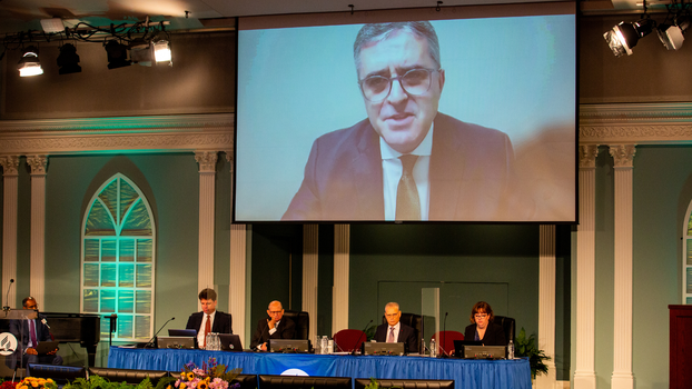 Erton Carlos Köhler, Executive Secretary, General Conference (GC) speaks to Executive Committee members at 2021 Annual Council in Silver Spring, Maryland, United States of America. [Photo Credit: Brent Hardinge / Adventist Media Exchange (CC BY 4.0)]