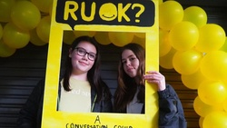 Year 7 students Mia and Ruby getting pictures taken in the photo booth. [Photo Courtesy of Adventist Record]