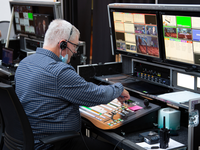Scott Grady runs master control during the 2021 Annual Council in Silver Spring, Maryland, United States of America. [Photo: Brent Hardinge / Adventist Media Exchange] (CC BY 4.0)