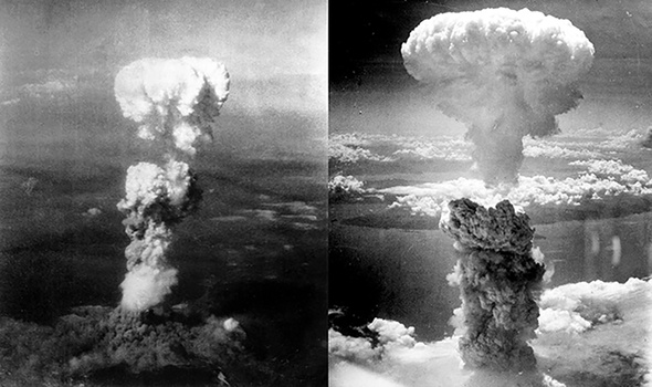 In the photo, the result of the detonation of the atomic bomb in Hiroshima (left) and Nagazaki (Photo: George R. Caron / Charles Levy)