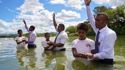 Baptism at Navosa Highlands, Western Fiji. [Photo Courtesy of Adventist Record]
