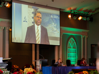 Paul H. Douglas, Treasurer, General Conference (GC) delivers the Treasurer's Report at the 2021 Annual Council in Silver Spring, Maryland, United States of America. [Photo Credit: Brent Hardinge/Adventist Media Exchange]